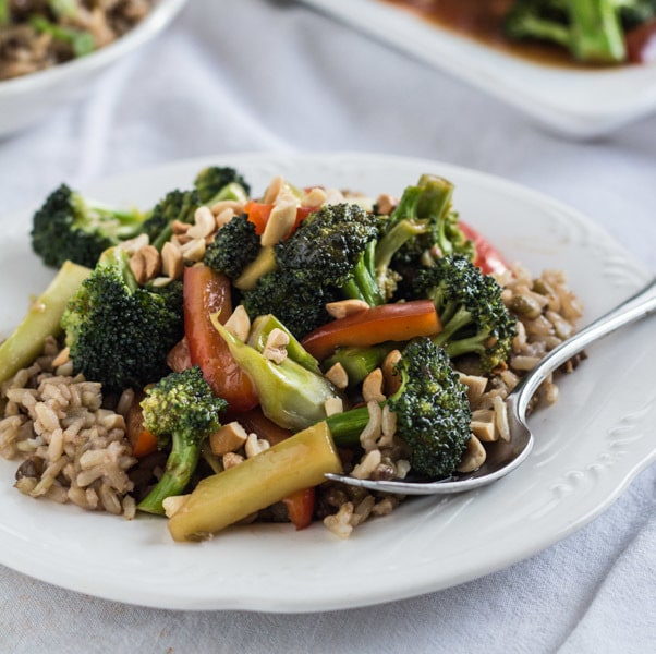 Easy Sweet and Sour Broccoli with Very Brown Rice, plated closeup