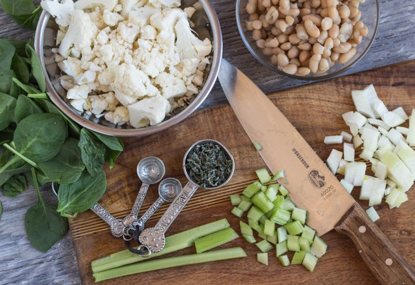 ingredients for Roasted Cauliflower and White Bean Chowder