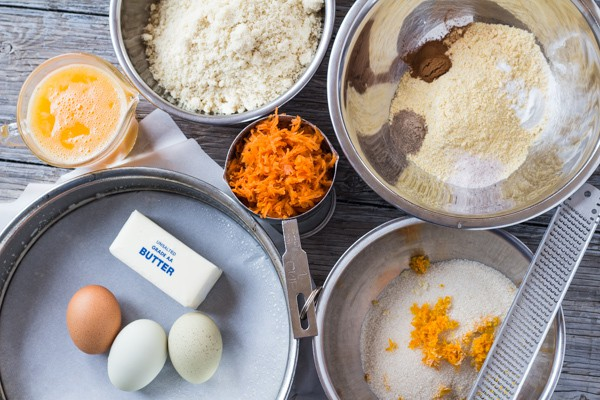 ingredients for Gluten Free Orange Almond Honey Cake