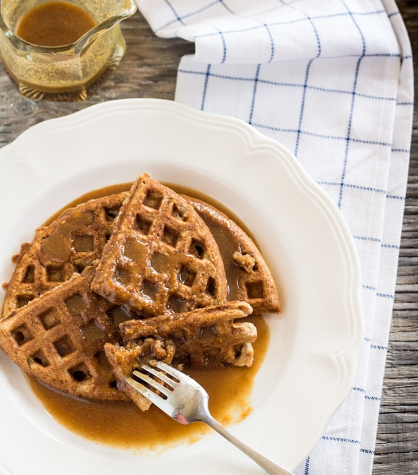 over head shot of Banana Waffles with Peanut Butter Maple Syrup | Letty's Kitchen