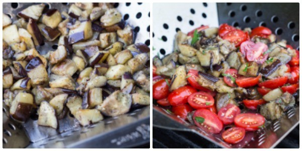 phoot collage of grilling eggplant and tomatoes in shake 'n grill basket