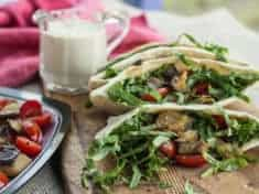 Roasted Eggplant and Tomato Pitas with Lemon Tahini Sauce
