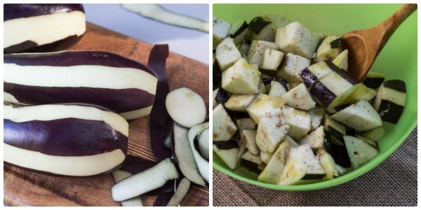 photo collage of steps to prep eggplant
