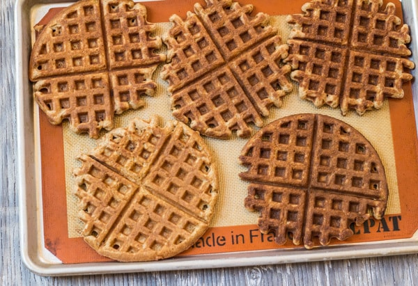 ready for the freezer Banana Waffles with Peanut Butter Maple Syrup | Letty's Kitchen