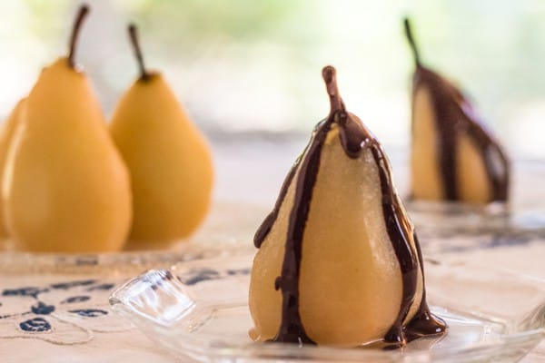 closeup of Cinnamon Poached Pears with Chocolate Sauce | Letty's Kitchen