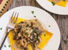Golden Polenta with Cannellini Beans and Mushroom Sage Gravy {vegan and gluten-free}