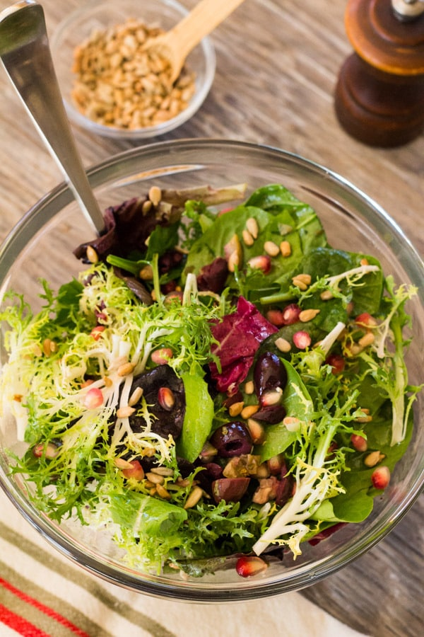 Winter Greens with Pomegranate and Olives | Letty's Kitchen