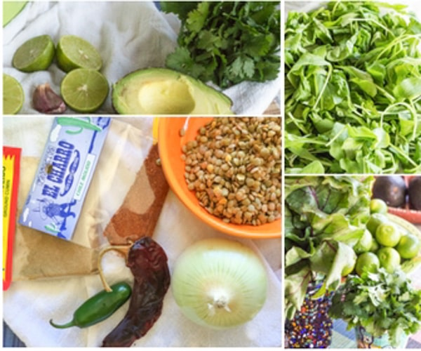 ingredients for Spicy Greens and Lentil Tacos with Guacamole Sauce