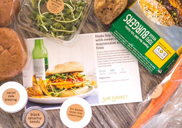 Veggie Burger fixings from Sun Basket organic meals