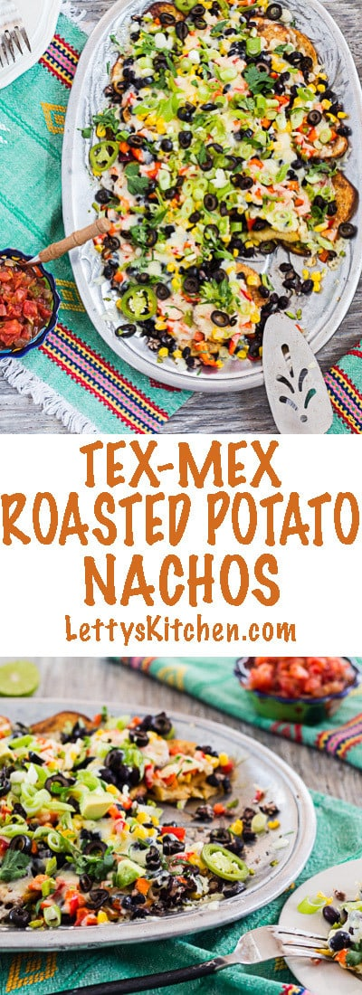 Vegetarian Tex-Mex roasted potato nachos, loaded with colorful veggies and spice!