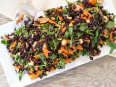 Black Rice and Pea Shoot Salad with Tamari Roasted Cashews