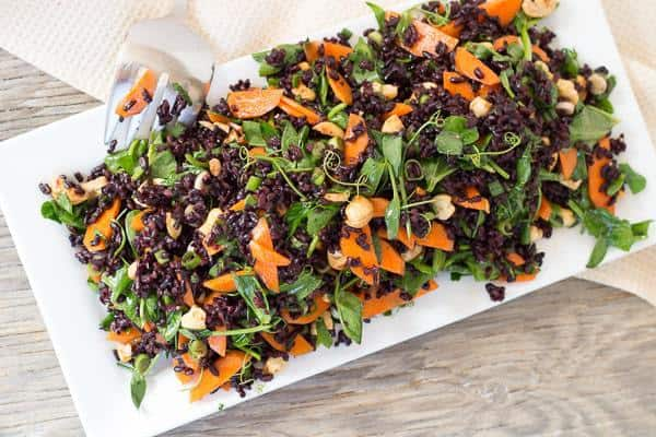 Black Rice and Pea Shoot Salad over head shot