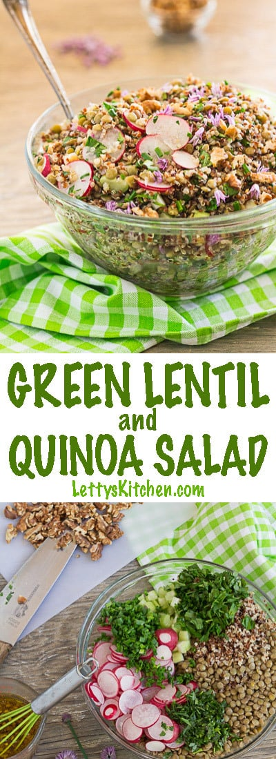French green lentil and quinoa salad with radishes, walnuts and fresh tarragon and parsley. Switch different vegetables and herbs to match the season.