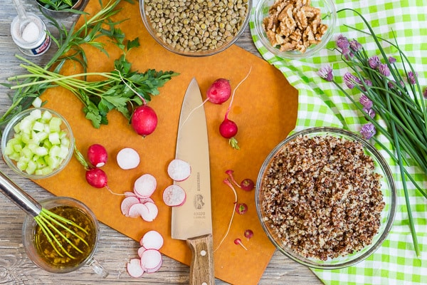 ingredients for French Green Lentil and Quinoa Salad on cutting board