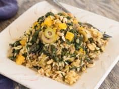 Brown Rice Pilaf with Bitter Greens, Olives, and Orange
