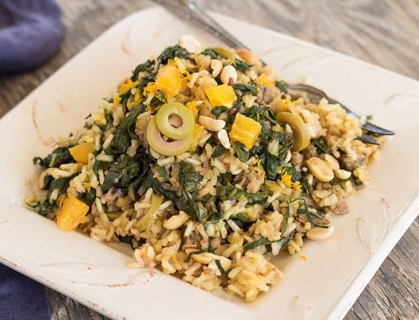 Brown Rice Pilaf with Bitter Greens, Olives, and Orange rectangle