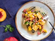Fresh Peach and Tomato Salsa with Pan Seared Tofu
