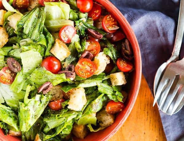 Italian Panzanella Salad with Kalamata Olives and Cherry Tomatoes overhead