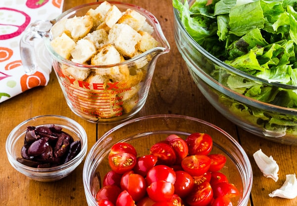 Ingredients for Italian Panzanella Salad with Kalamata Olives and Cherry Tomatoes