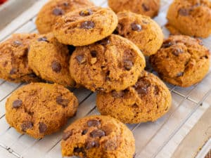 pumpkin chocolate chip cookies on wire