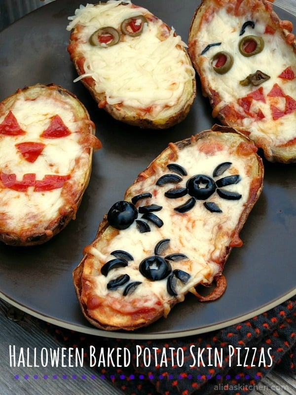 Baked Potato Skins Pizza for 16 Healthy Vegetarian Halloween Picks