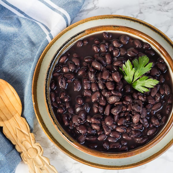 Cooked black beans--ready to dish out for How to Cook Black Beans in a Pressure Cooker