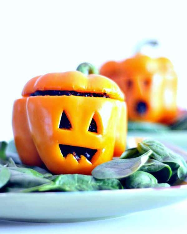 Pepper Jack o' Lanterns for 16 Healthy Vegetarian Halloween Picks