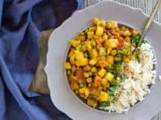 Potato Chickpea Curry with Pineapple with blue napkin