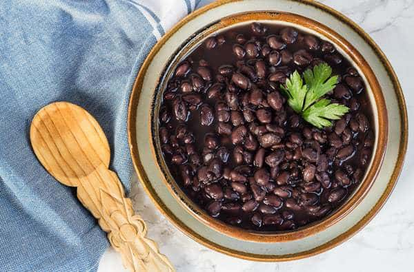 overhead photo for How to Cook Black Beans in a Pressure Cooker