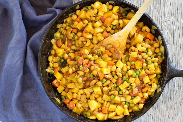 Potato Chickpea Curry with Pineapple, in skillet ready to plate