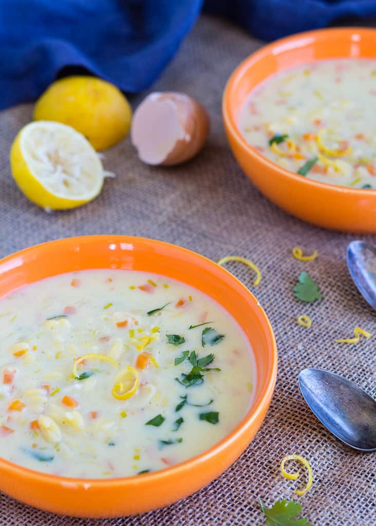 Silky rich dairy-free vegetarian version of classic Greek egg and lemon soup, avgolemono. With gluten-free or regular orzo pasta. Quick and easy to make with vegetable broth powder.