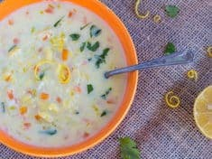 Vegetarian Greek Lemon Egg Soup with Orzo