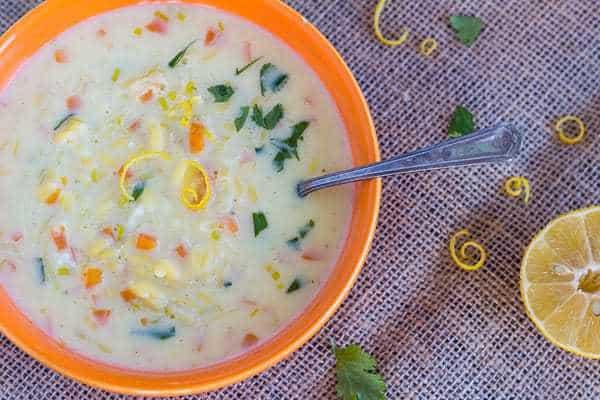 Vegetarian Egg Lemon Soup with Orzo