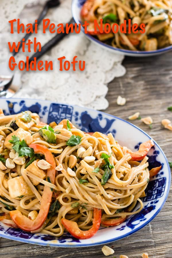 Thai Peanut Noodles with Golden Tofu, gluten free and vegan recipe adapted from Nourished, by Lia Huber. Rice noodles with red curry-spiced peanut sauce, blistered green onions, red pepper, and cilantro. #ricenoodles #recipe #vegan #glutenfree #peanutsauce #tofu