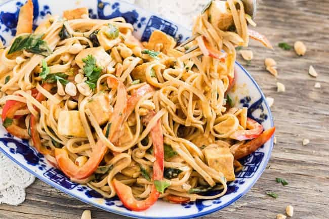 twirling Thai Peanut Noodles with Golden Tofu
