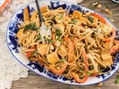Thai Peanut Noodles with Golden Tofu {Gluten free and vegan}
