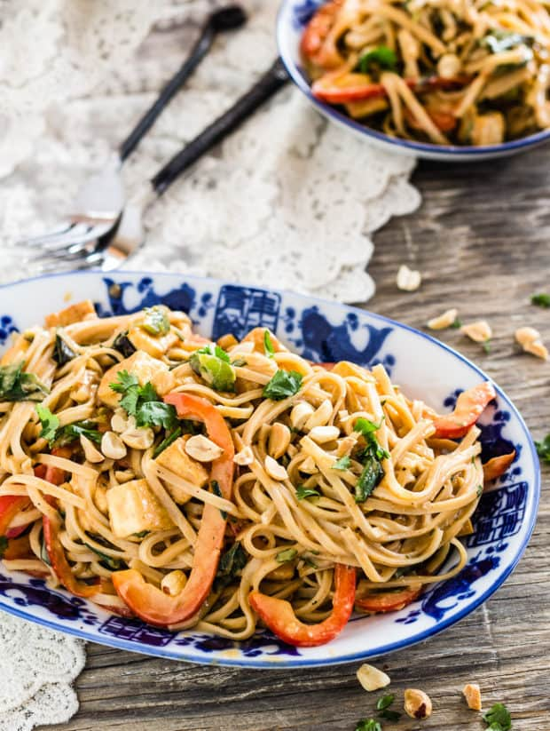 Thai Peanut Noodles with Golden Tofu on Chinese blue platter | Letty's Kitchen