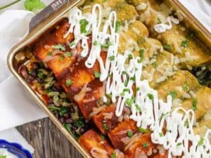 Spinach and Black Bean Enchiladas baked, pan angled