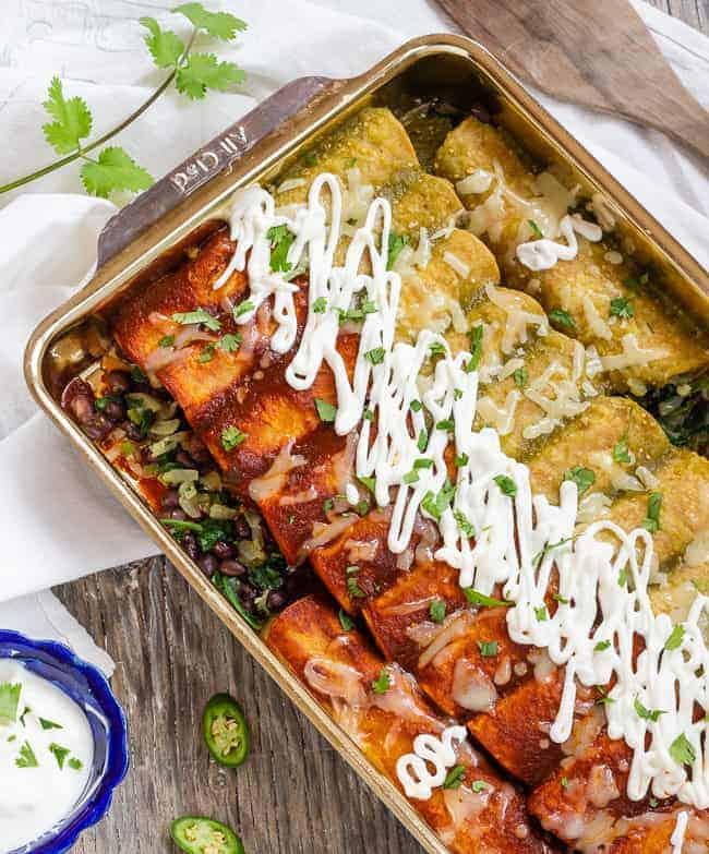Amazing Spinach and Black Bean Enchiladas - Letty's Kitchen