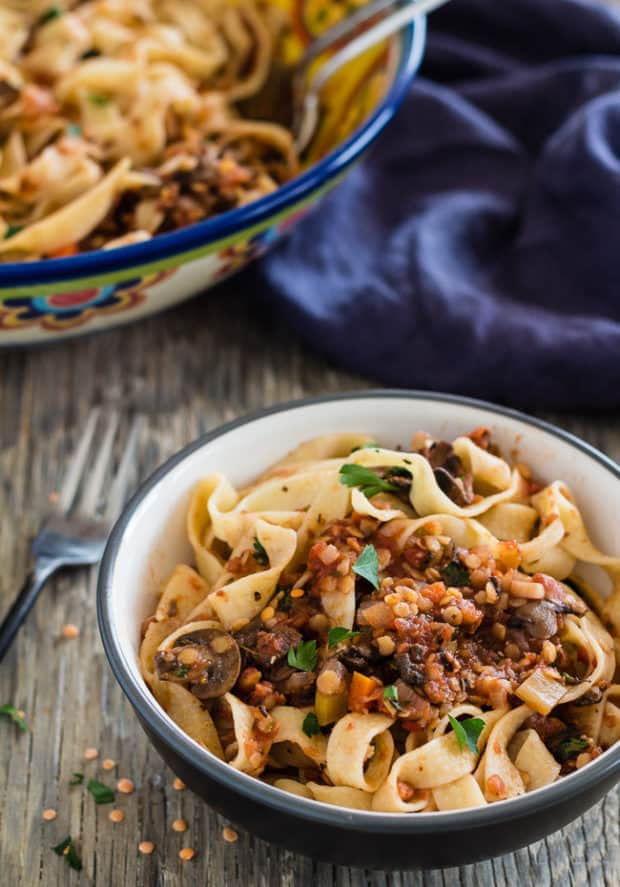 Spicy Red Lentil and Mushroom Pasta | Letty's Kitchen