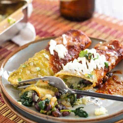 Spinach and Black Bean Enchiladas closeup featured
