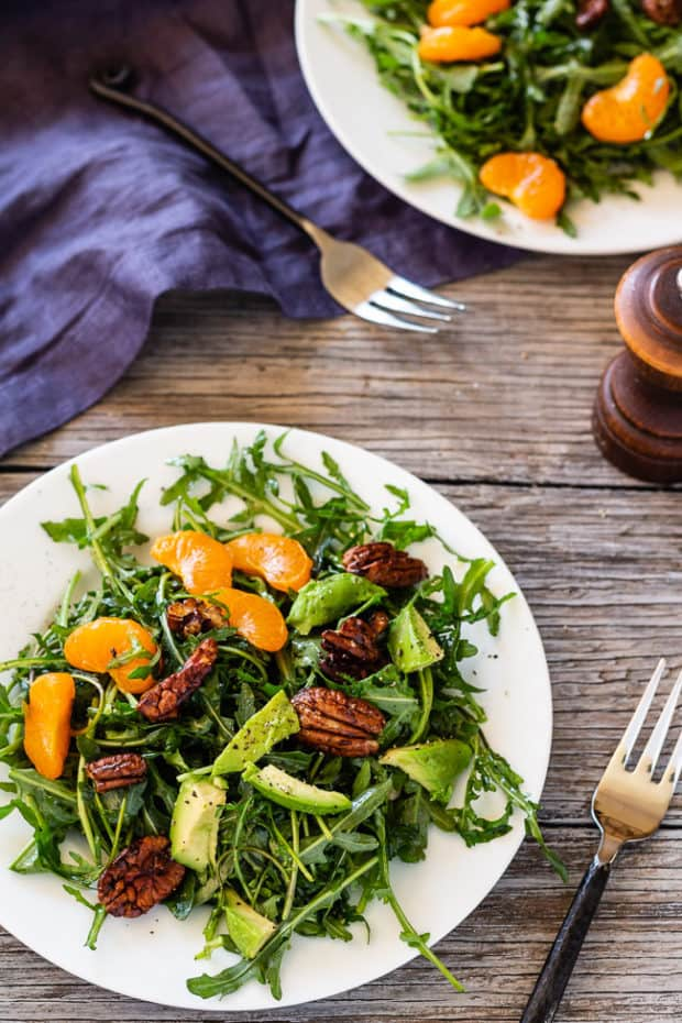 Arugula Salad with Clementines and Maple Pepper Pecans | Letty's Kitchen