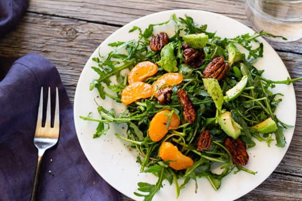 Arugula Salad with Clementines and Maple Pepper Pecans one plate