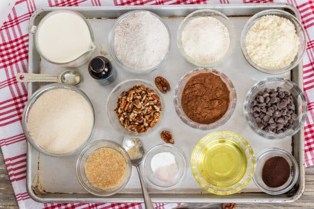 ingredients for Vegan Gluten Free Chocolate Pecan Brownies