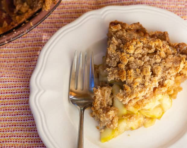 Slice of Zucchini Mock Apple Pie with Oat Almond Crumble