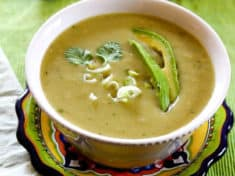 Chayote Chile Soup in bowl ready to eat