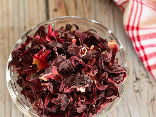 dried hibiscus flowers in bowl