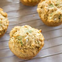 Three Cottage Cheese Dill Muffins on cooling rack