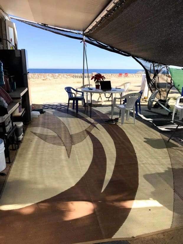 Trailer patio with Los Barriles beach view in background