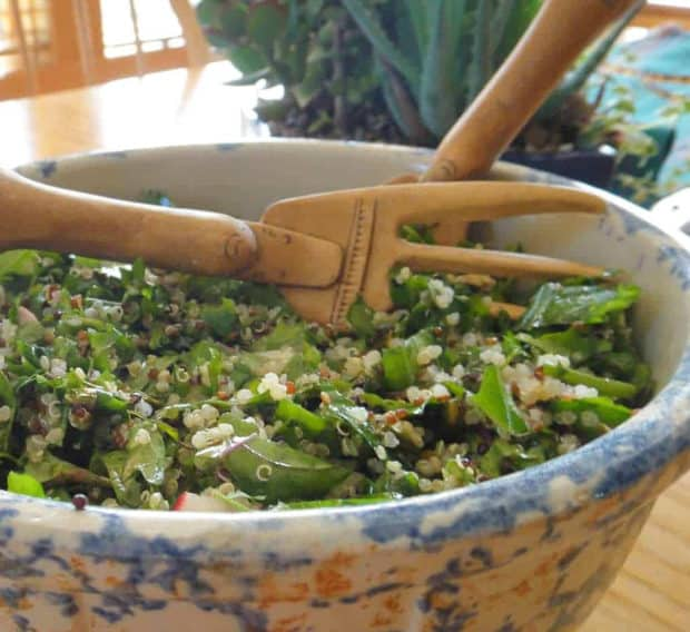 Kale and quinoa salad in bowl with wooden salad servers
